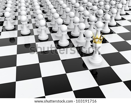 3D render of white pawn with golden crown leading it army - stock photo
