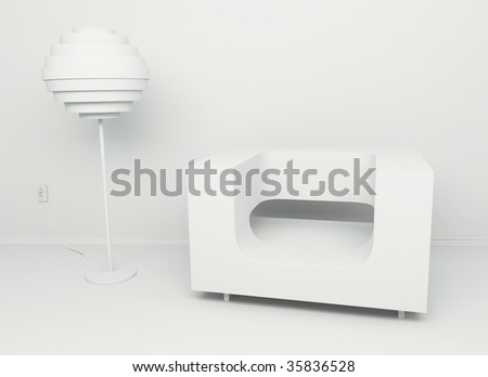 3d Render of White Room With Sofa and Lapm - stock photo