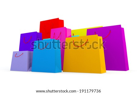 3d render of wide variety of coloured bags on a white background
