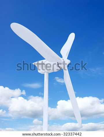 3d render of wind farm turbine and clouds - stock photo