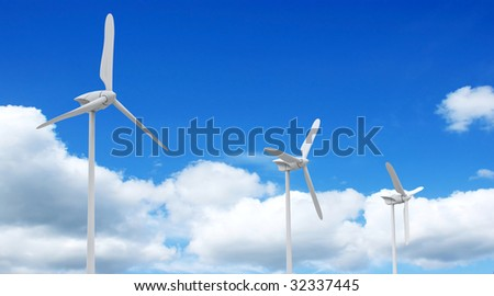 3d render of wind farm turbine and clouds