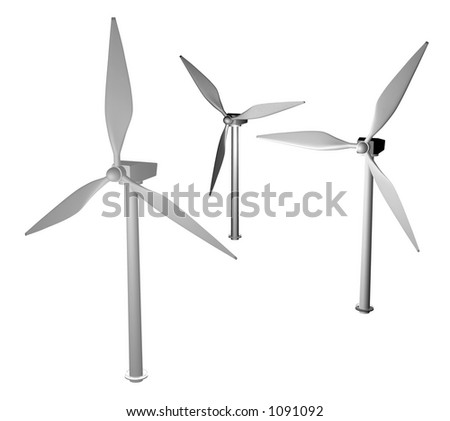3d render of wind turbines modelled by me. - stock photo