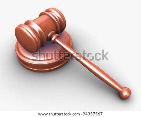 3d render of wood gavel on white background