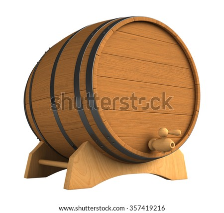 3d render of wooden barrel isolated over white background - stock photo