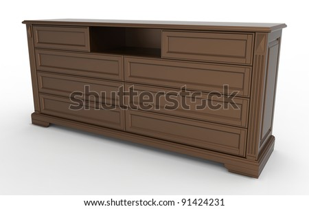 3d render of  wooden chest of drawers for clothes