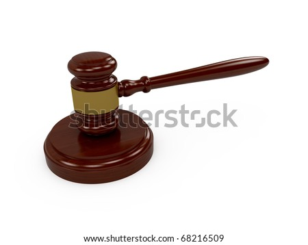 3d render of wooden judge gavel on white background - stock photo