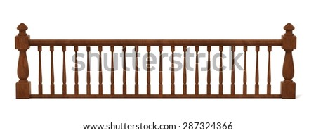 3d render of wooden railings - stock photo