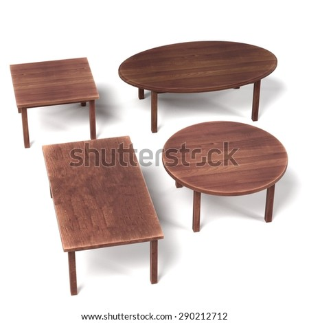 3d render of wooden tables - stock photo
