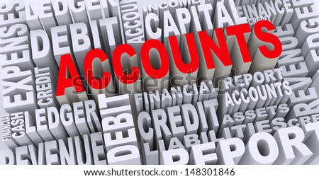 3d render of word tags wordcloud of concept of accounts - stock photo