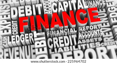 3d render of word tags wordcloud of concept of finance - stock photo