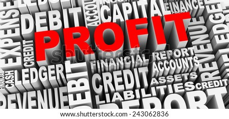 3d render of word tags wordcloud of concept of profit - stock photo