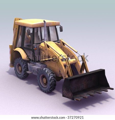 3D render og a wheeled excavator - stock photo