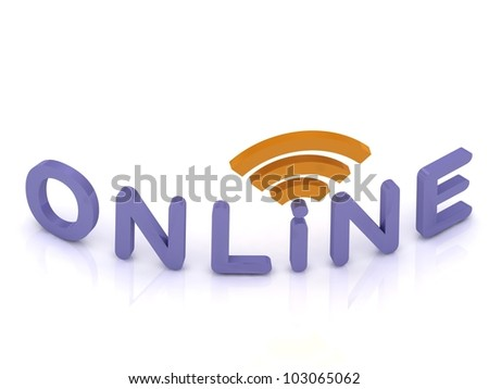 3D render, online signal sign with blue letters on white background - stock photo