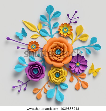 3 d render paper flowers bouquet vivid stock illustration 1039858918 3d render paper flowers bouquet vivid color palette botanical background isolated clip mightylinksfo