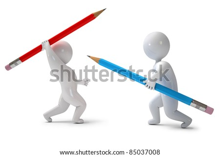 3d render pencil chivalry - stock photo
