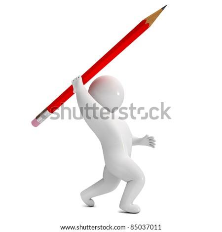 3d render pencil spear - stock photo