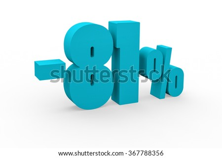 3d render 81 percent discount on a white background.
