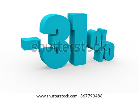 3d render 31 percent discount on a white background.