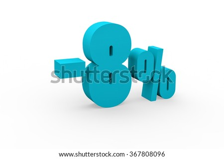 3d render 8 percent discount on a white background.
