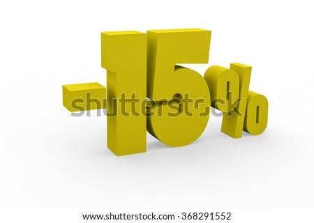 3d render 15 percent discount on a white background.