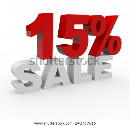 3d render 15 percent off on a white background.