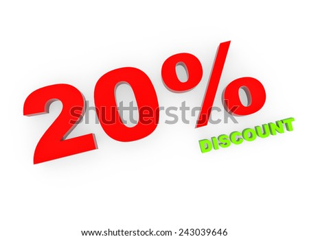 3d render 20 percent off on a white background.