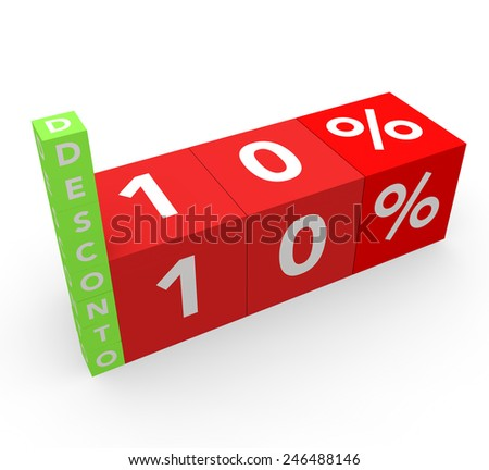 3d render 10 percent off with the word Desconto (Discount in Portuguese) on a white background.  - stock photo