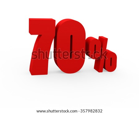 3d render 70 percent on a white background.  - stock photo