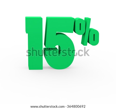 3d render 15 percent on a white background.  - stock photo