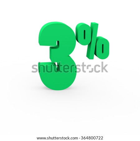 3d render 3 percent on a white background.  - stock photo