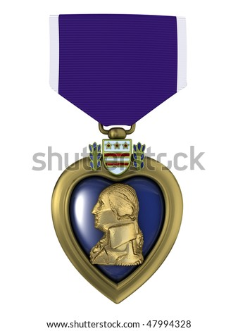 3d render Purple heart medal - stock photo
