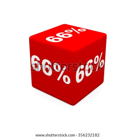 3d render red cube with 66 percent on a white background.