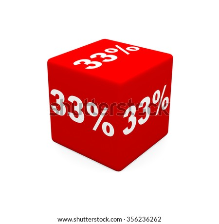 3d render red cube with 33 percent on a white background.