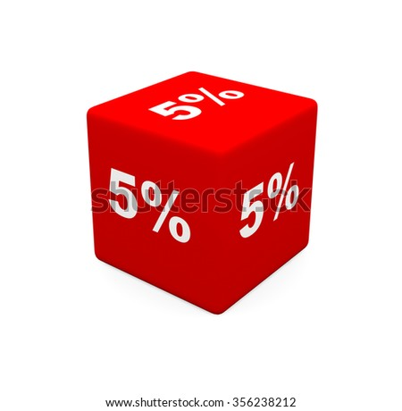 3d render red cube with 5 percent on a white background.