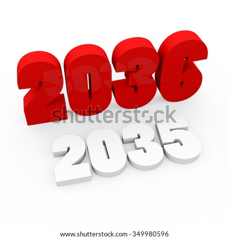 3d render red cubes New Year 2036 and past year on a white background.