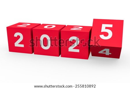3d render red cubes New Year 2025 on a white background.  - stock photo