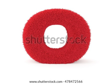 3d render red furry letter O on a white background.