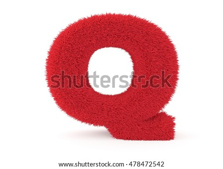 3d render red furry letter Q on a white background.