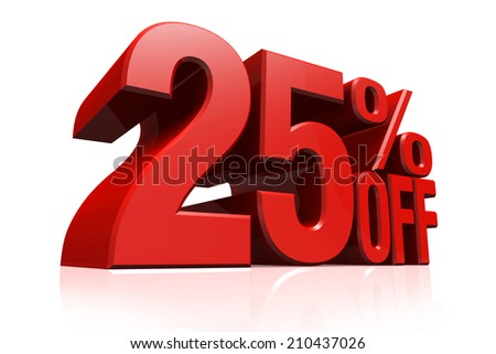 3D render red text 25 percent off on white background with reflection. - stock photo