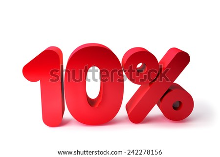 10% 3D Render Red Word Isolated in White Background - stock photo
