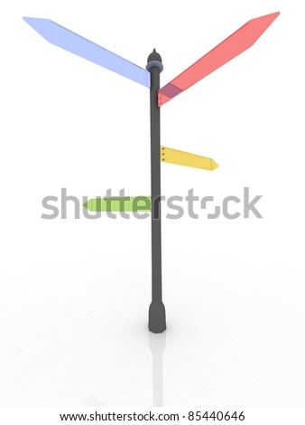 3D render road sign with pointer - stock photo