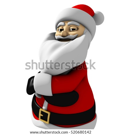 3d Render Santa Claus arms folded
