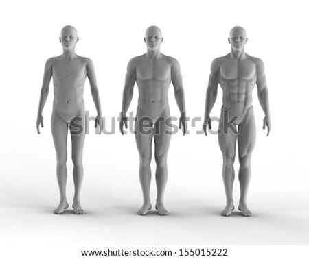 3d render set of portrait bodybuilder - stock photo