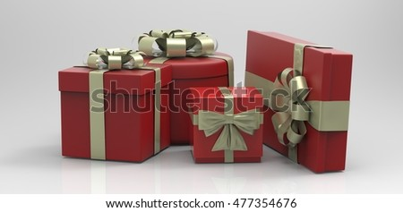 3D render set of realistic gift boxes with bows and ribbons.