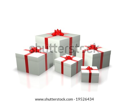 3D Render. Several white gift boxes with red ribbons of different sizes. Isolated on white.