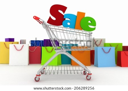 3d render shopping cart and shopping bags - stock photo