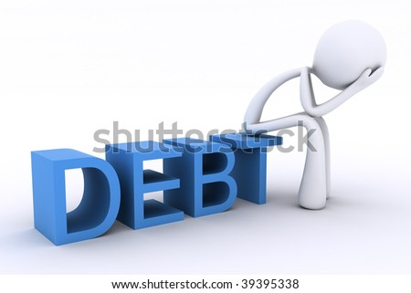 3D render showing a character sitting on a word, with head in hands looking stressed. - stock photo