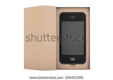 3d Render Smartphone with Box on a white background