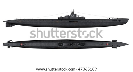 3d render Soviet k-21 WW2 submarine - stock photo