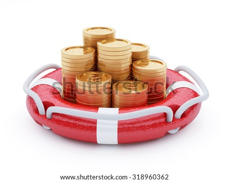 3d render stack of coins with lifebuoy isolated on white background - stock photo